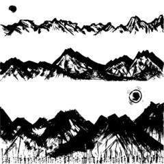 山々 山脈 墨 毛筆イラスト