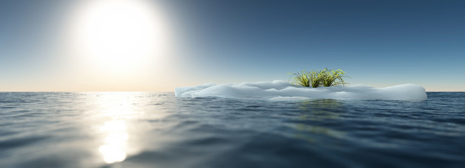 Iceberg with green grass floating in ocean. Clear blue sky. Glob