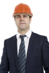businessman foreman wearing helmet isolated on white background