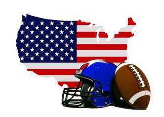 American Football with Flag and Map