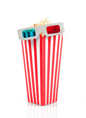 3D glasses on top of the popcorn bucket