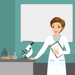 Affable chemist woman in the laboratory