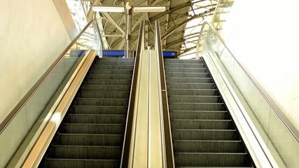 escalators in the train station
