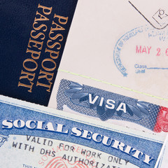 Passport, US Visa and Social Security Card
