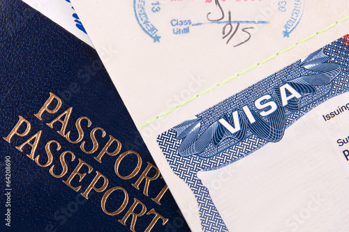 Leinwanddruck Bild Passport and US Visa