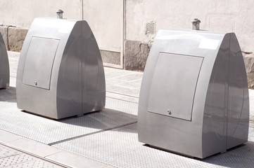 Metal litter bins in Florence, Italy