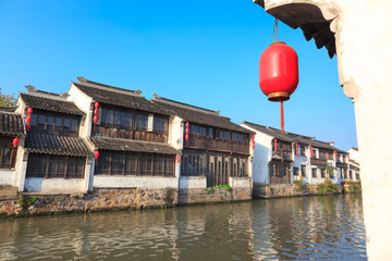 An old Chinese traditional town by the Grand canal,suzhou,China