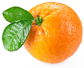 Orange with leaves isolated on a white background.