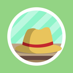 Brown Fedora Hat Flat Design
