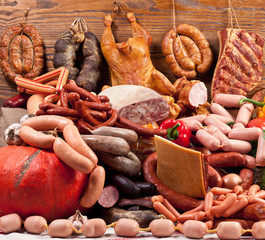 Variety of sausage products.