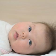 Newborn baby looking