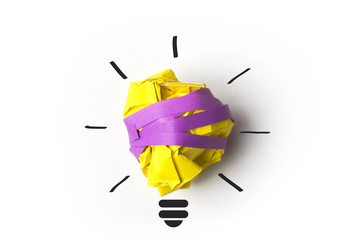 Inspiration concept paper light bulb metaphor for good idea.