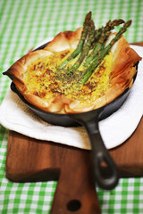 Quiche pie with asparagus and parmesan cheese
