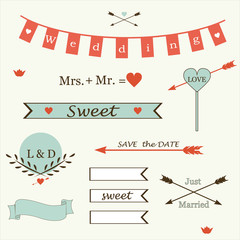 Wedding romantic collection elements in retro style vector.