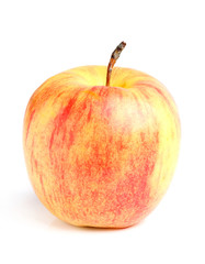 Ripe red yellow apple isolated.