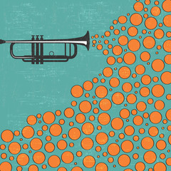 Music background with trumpet and balls
