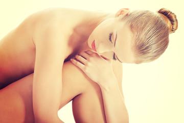 Beautiful caucasian naked woman's body.
