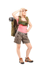 Female scout with backpack
