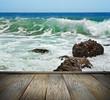 Turbulent water on a rocky coastline