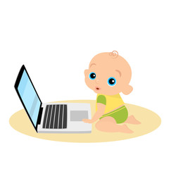 Little boy is playing with laptop - isolated