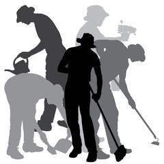 Vector silhouette of a gardener.