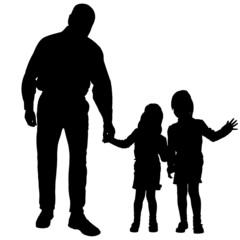 Vector silhouette of people with children.