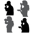 Vector silhouettes people.