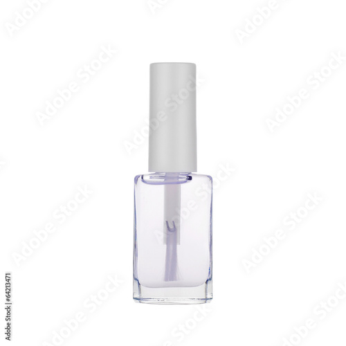 Transparent nail polish isolated on white