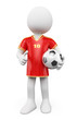 3D white people. Soccer World Cup player. Red jersey
