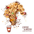 Coffee and pastry hand drawing illustration