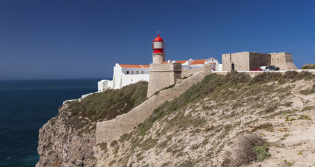 Fortress and lighthouse of St.Vincent Cape in Sagres, Portugal.