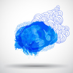 Hand drawing blue blot with sketch elements (place for your text
