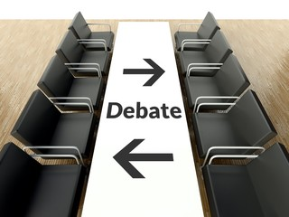 Business debate, workplace for negotiations