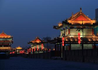 night scene at xian city wall,china