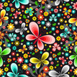 Seamless floral background with colorful butterflies