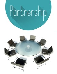 Partnership illustration, workplace for negotiations