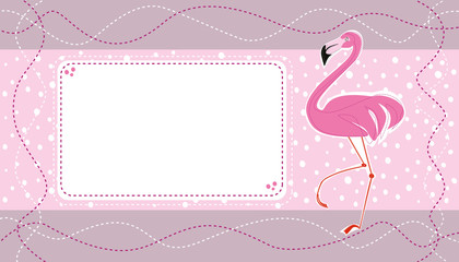 Birthday invitation card with cute pink flamingo