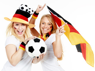 Two girly soccer fans celebrate the victory