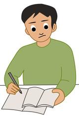 勉強する男性のイラスト