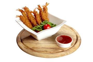 Seefood, Fritierte Garnelen mit dip