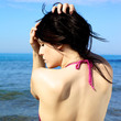 Portrait of beautiful back and profile of woman