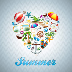 Vector Love Heart Summer Holiday design