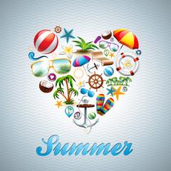 Vector Love Heart Summer Holiday design