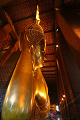 Huge Lyinig Buddha in Wat Pho Temple in Bangkok