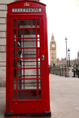London telephone box and Big Ben in background.