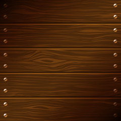 Dark wooden boards with screws. Vector background.