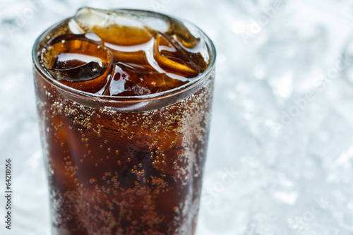 Cold cola soda drink with ice cubes - 64218056