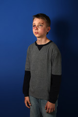 Scarred beaten up kid