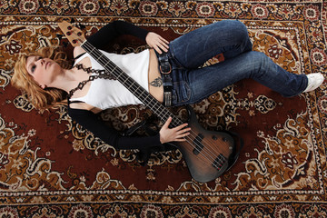 Woman and guitar music background