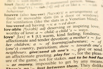Word Love in a dictionary